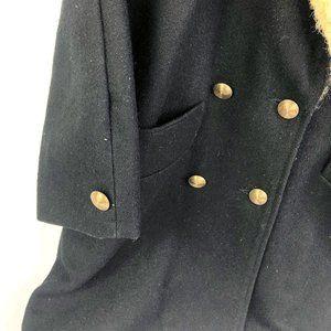 02831 Jackets & Coats - Vintage NYG Leopard Faux Fur Collar Black Coat M/L
